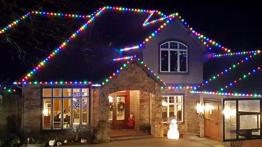 multi colored C7 holiday perimeter/outlining lighting
