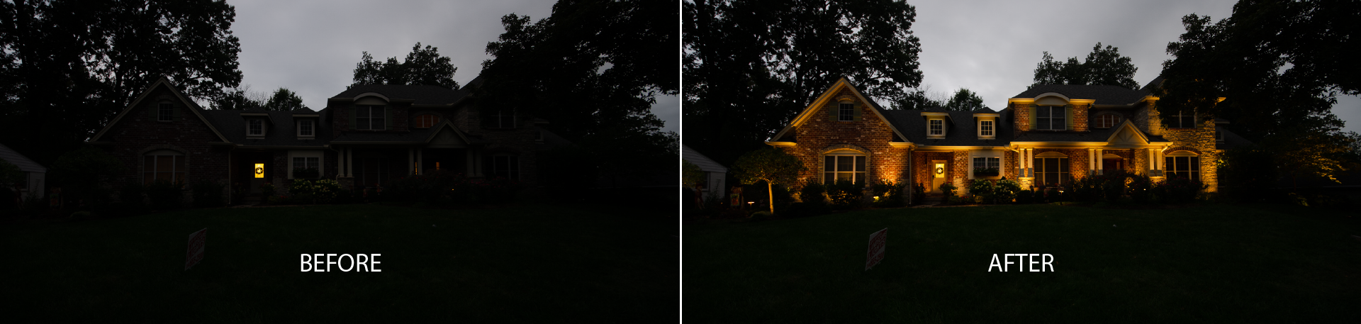 Before and After Home with Landscape Lighting